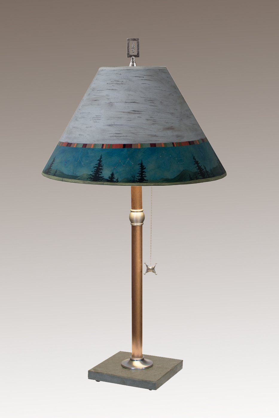 Copper Table Lamp on Vermont Slate with Medium Conical Shade in Birch Midnight