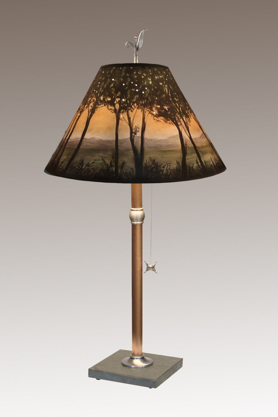 Copper Table Lamp on Vermont Slate with Medium Conical Shade in Dawn