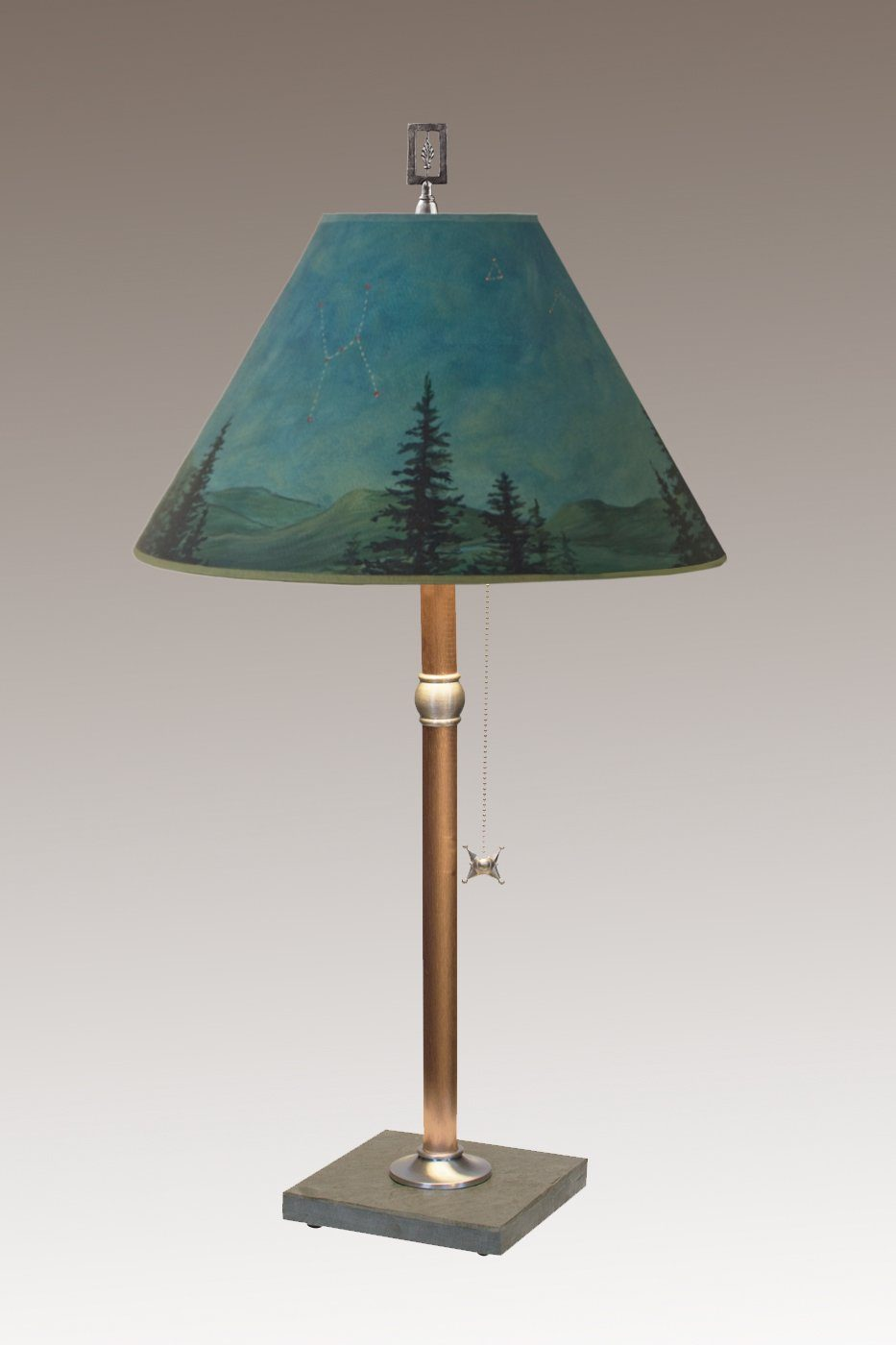 Copper Table Lamp on Vermont Slate with Medium Conical Shade in Midnight
