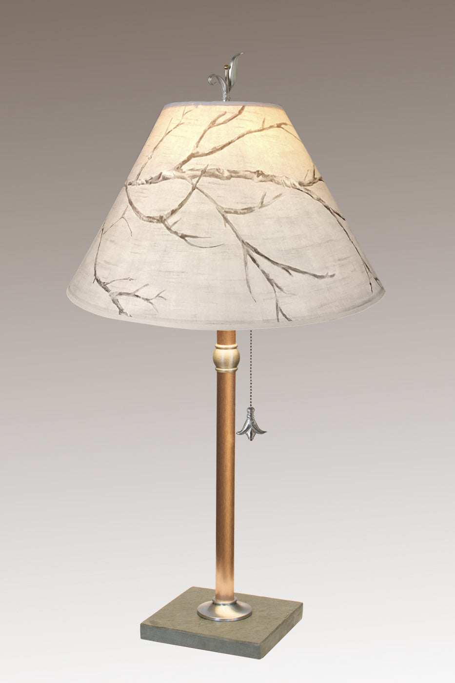 Copper Table Lamp on Vermont Slate with Medium Conical Shade in Sweeping Branch