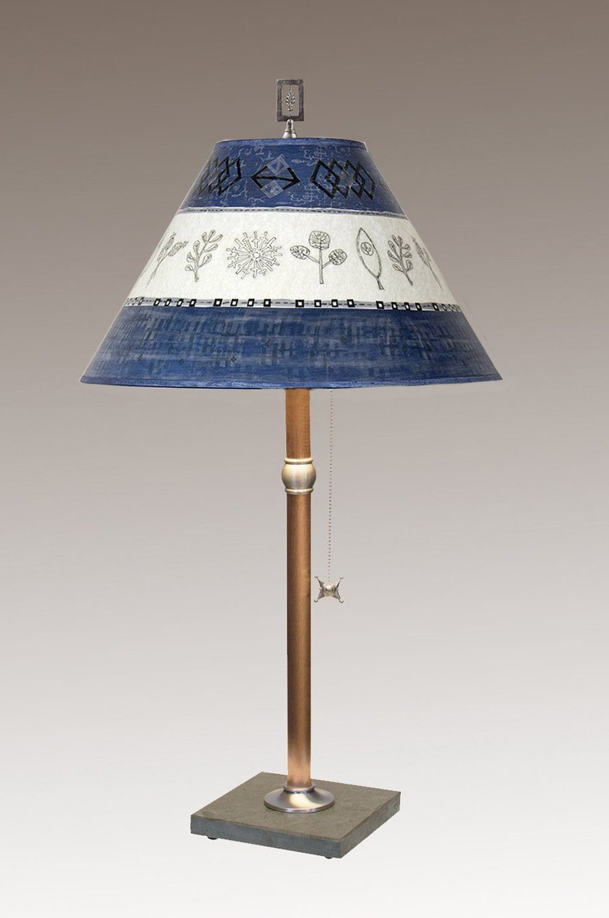 Copper Table Lamp on Vermont Slate with Medium Conical Shade in Woven Sprig & Sapphire