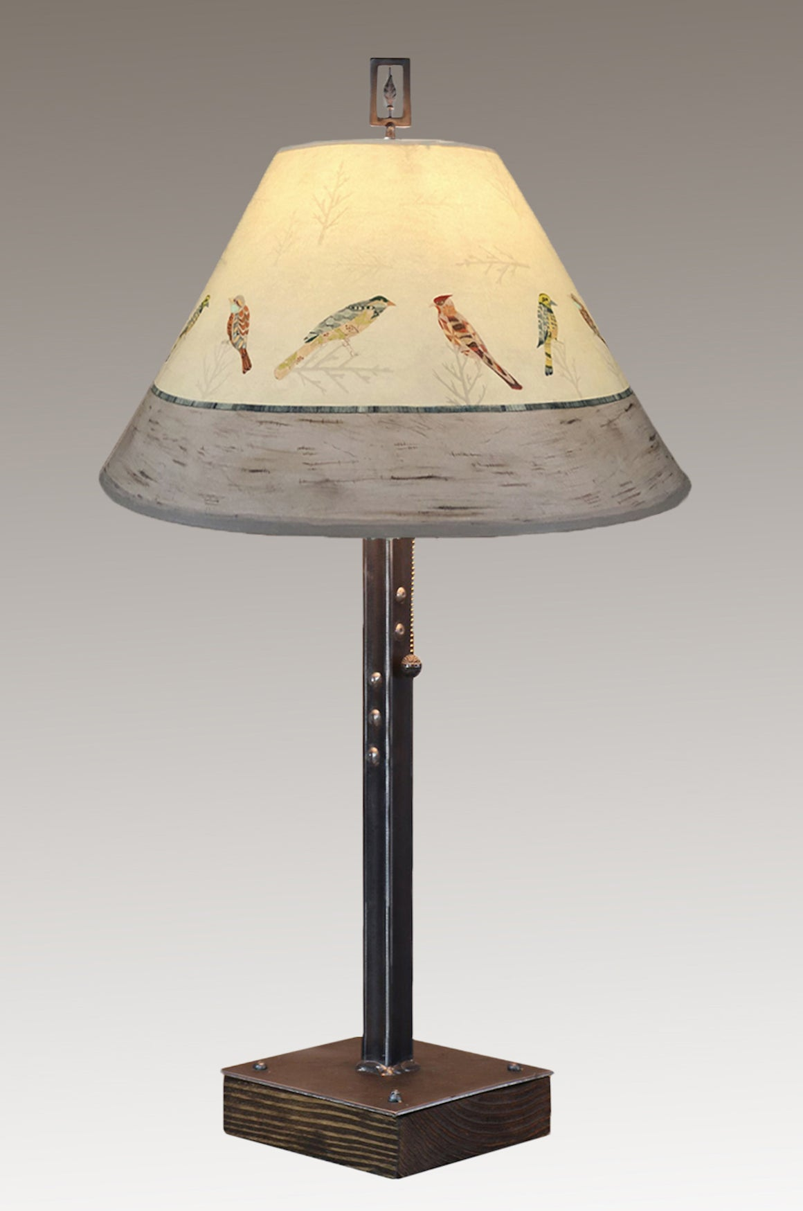 Steel Table Lamp on Wood with Medium Conical Shade in Bird Friends