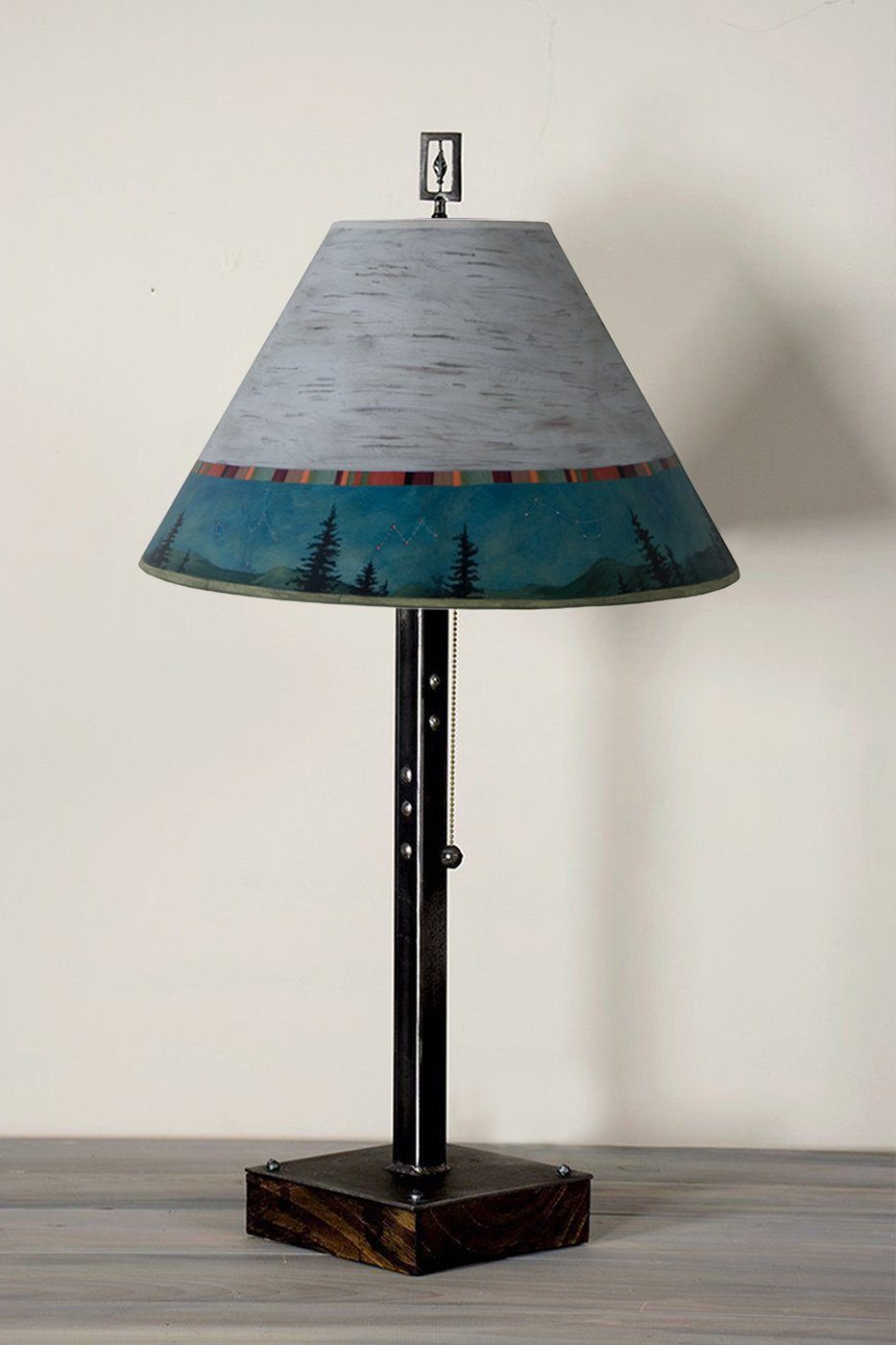 Steel Table Lamp on Wood with Medium Conical Shade in Birch Midnight
