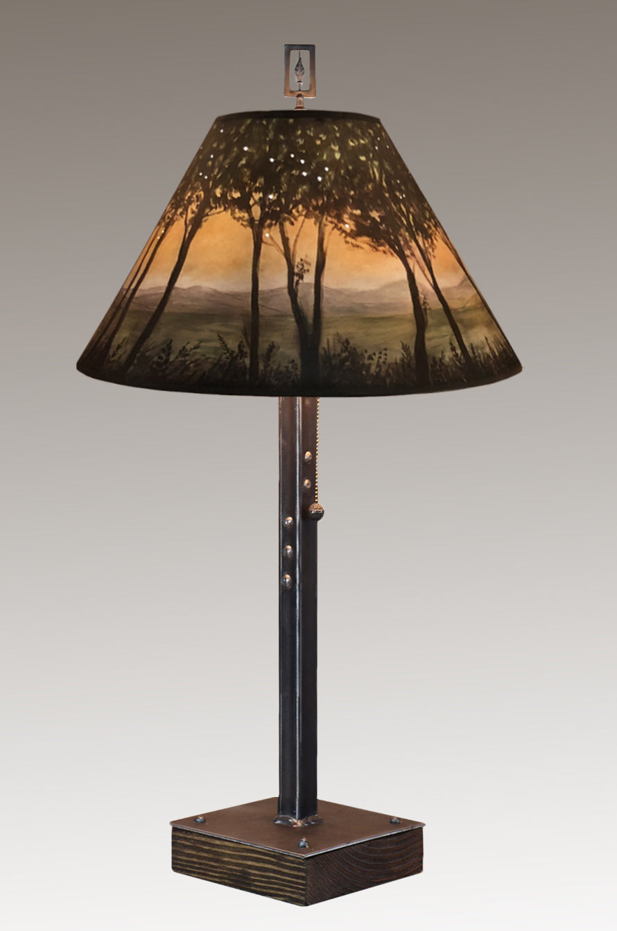 Steel Table Lamp on Wood with Medium Conical Shade in Dawn