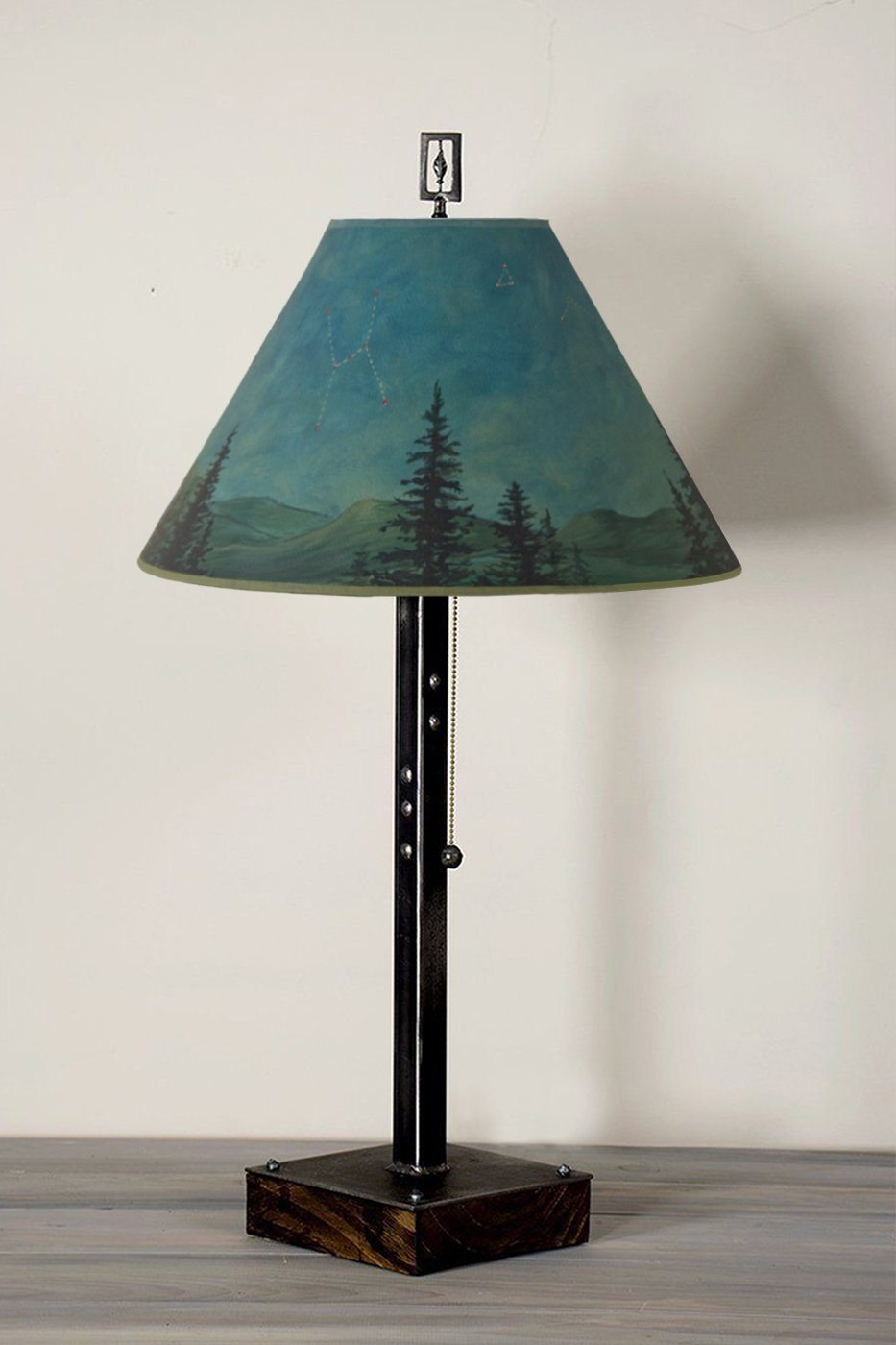 Steel Table Lamp on Wood with Medium Conical Shade in Midnight Sky