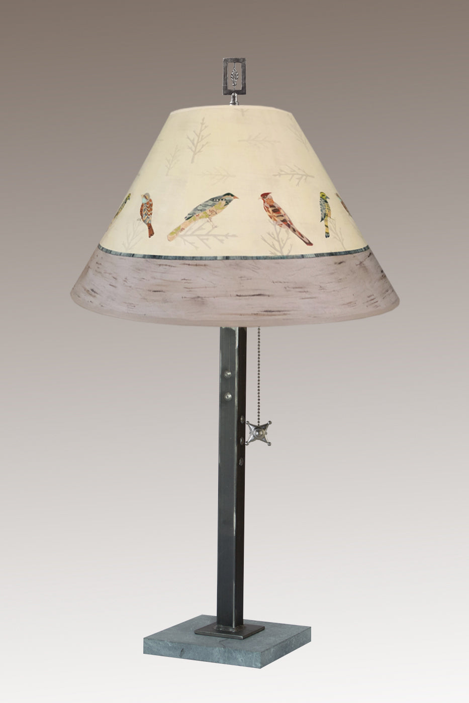 Steel Table Lamp on Italian Marble with Medium Conical Shade in Bird Friends