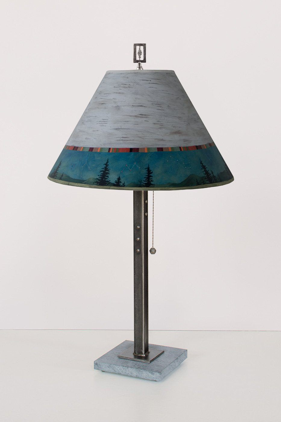 Steel Table Lamp on Italian Marble with Medium Conical Shade in Birch Midnight