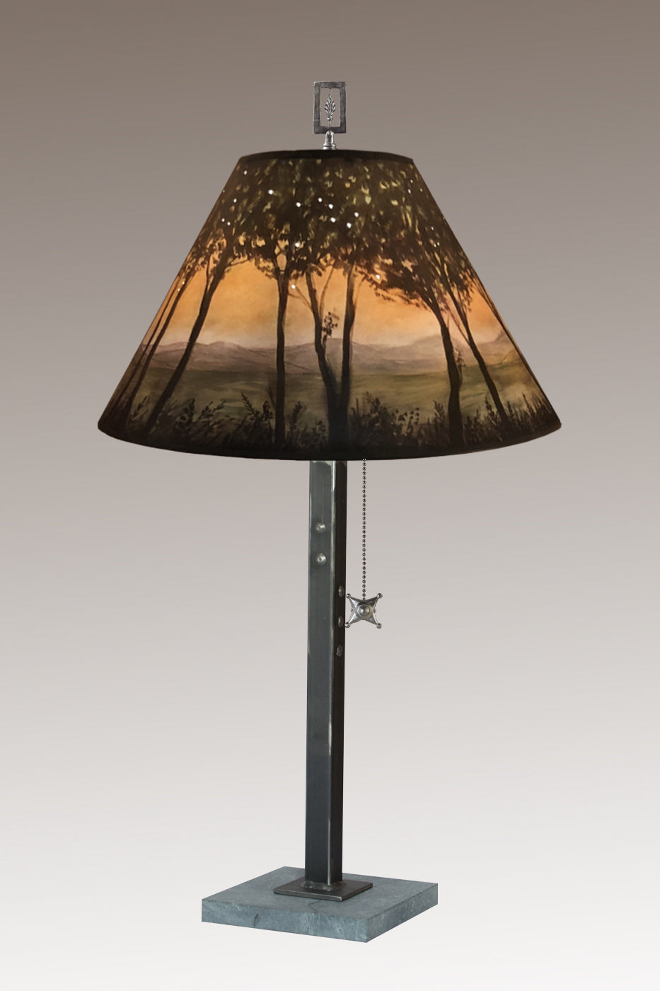 Steel Table Lamp on Italian Marble with Medium Conical Shade in Dawn