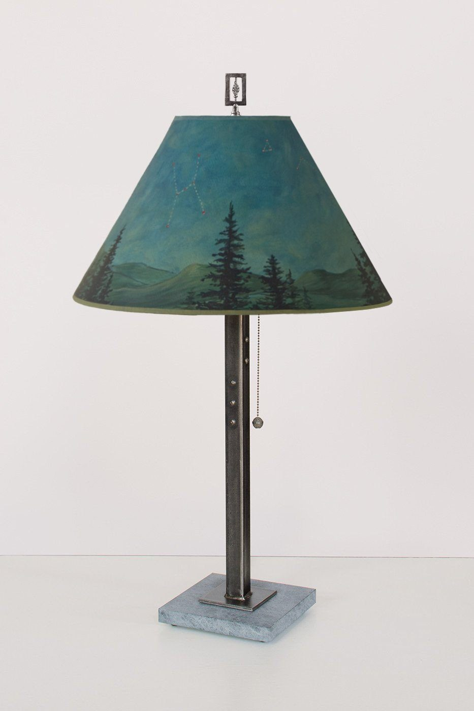 Steel Table Lamp on Italian Marble with Medium Conical Shade in Midnight Sky