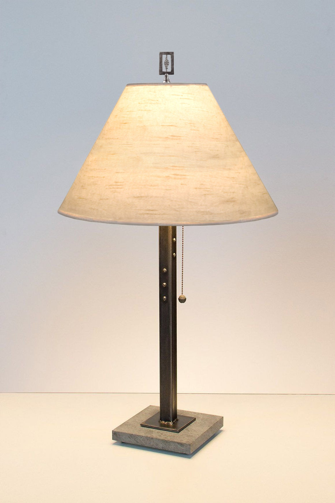 Steel Table Lamp on Italian Marble with Medium Conical Shade in Simply Birch