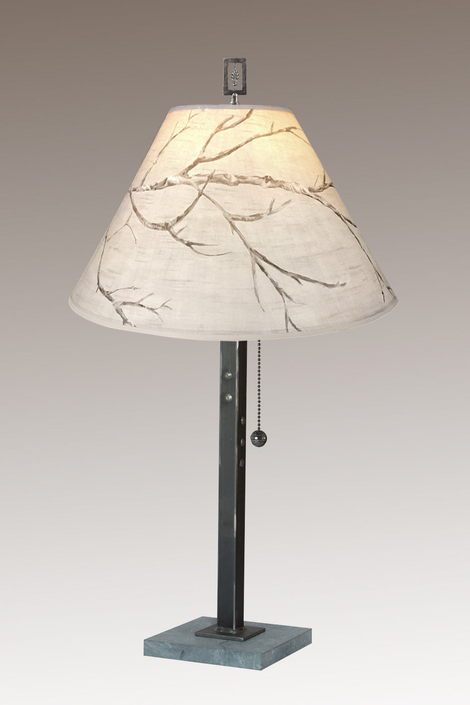 Steel Table Lamp on Italian Marble with Medium Conical Shade in Sweeping Branch
