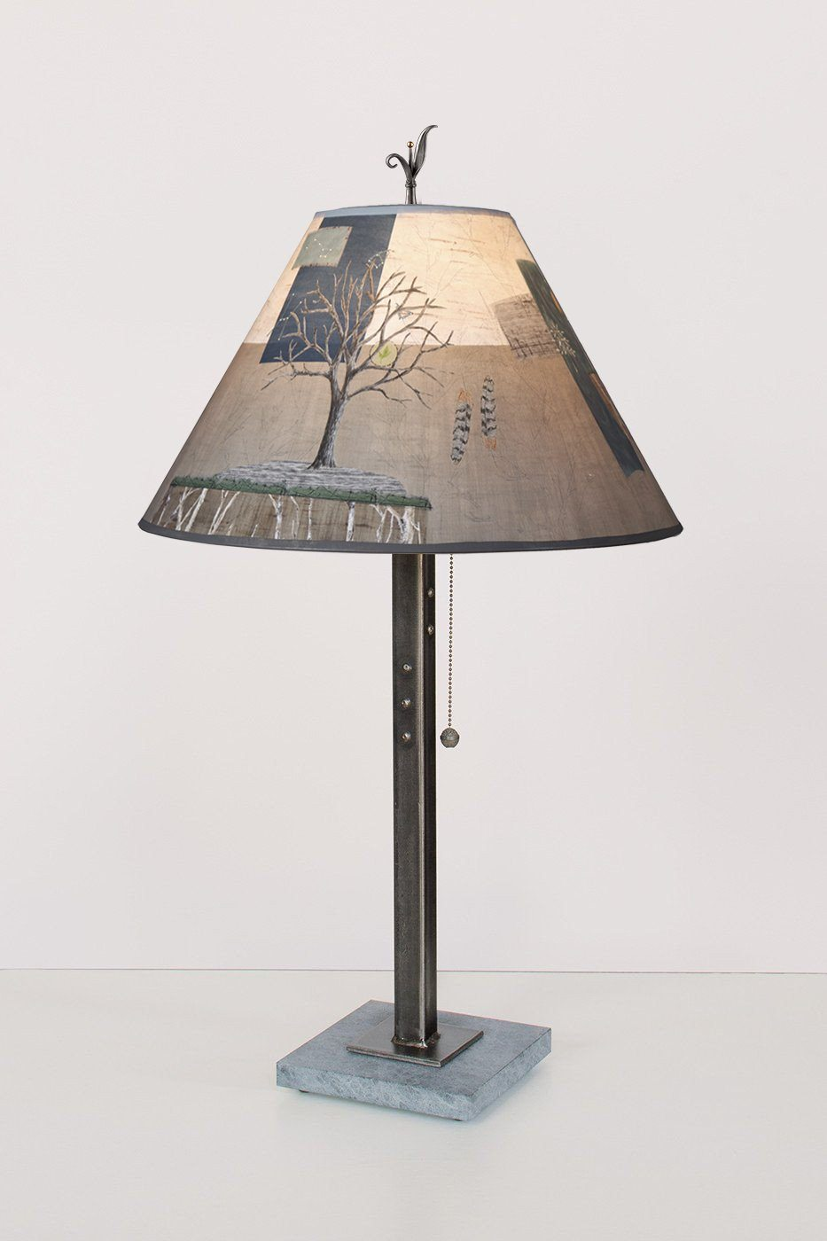 Steel Table Lamp on Italian Marble with Medium Conical Shade in Wander in Drift