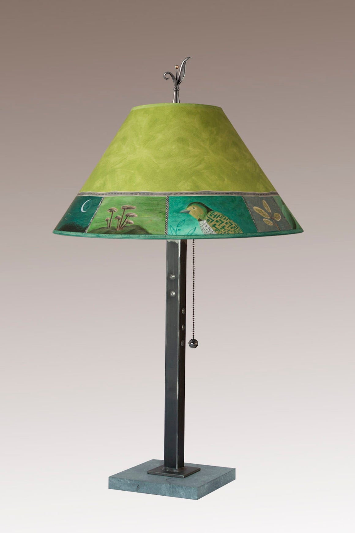 Steel Table Lamp on Italian Marble with Medium Conical Shade in Woodland Trails in Leaf