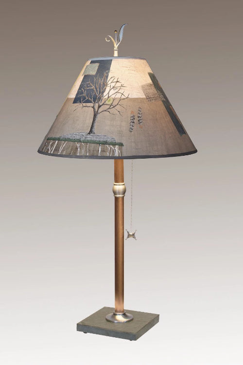 Copper Table Lamp on Vermont Slate with Medium Conical Shade in Wander in Drift
