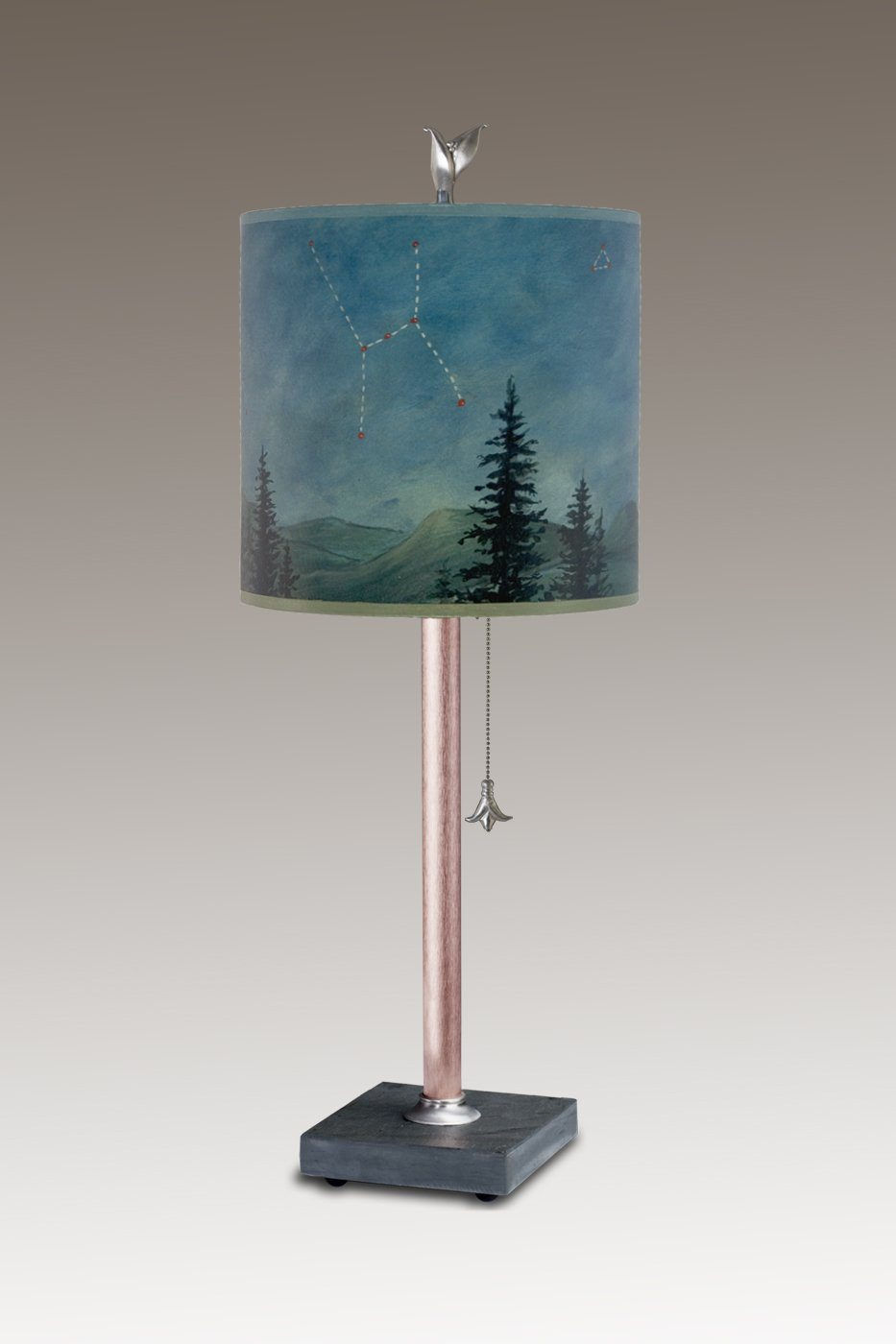 Copper Table Lamp on Vermont Slate Base with Small Oval Shade in Midnight