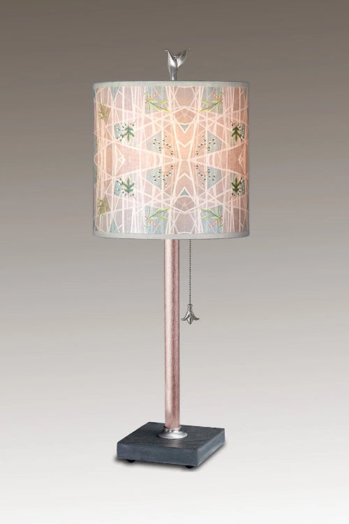 Copper Table Lamp on Vermont Slate Base with Small Oval Shade in Prism