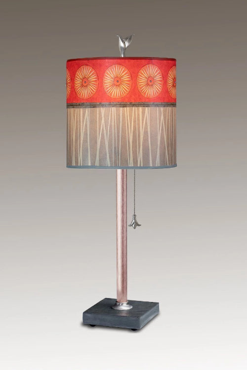 Copper Table Lamp on Vermont Slate Base with Small Oval Shade in Tang