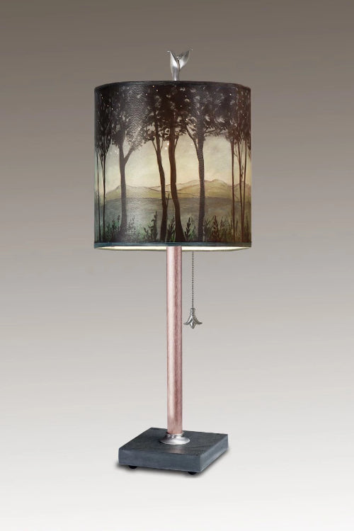 Copper Table Lamp on Vermont Slate Base with Small Oval Shade in Twilight