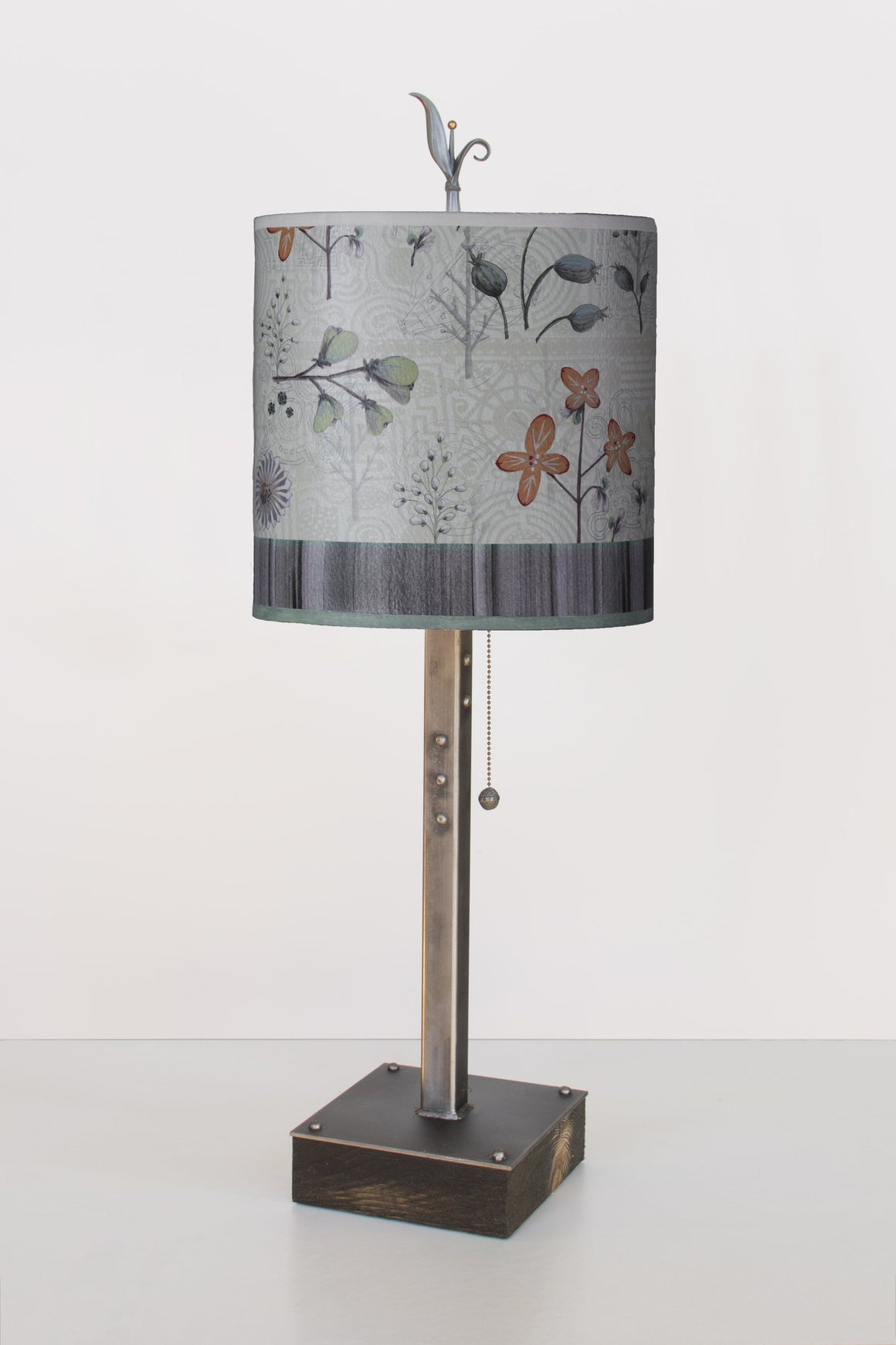 Steel Table Lamp on Reclaimed Wood Base with Small Oval Shade in Flora & Maze