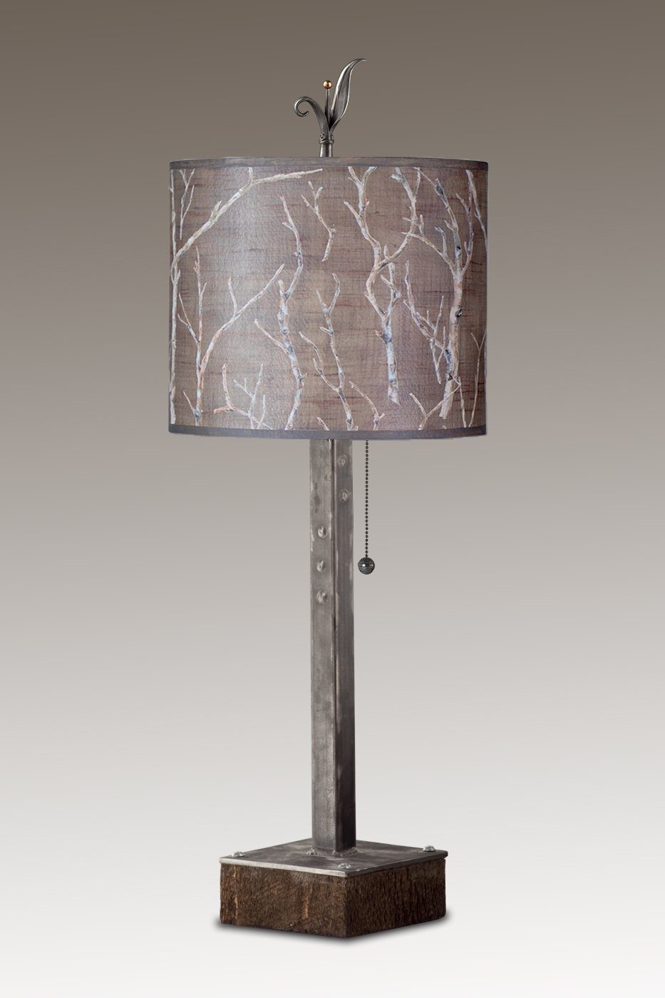 Steel Table Lamp on Reclaimed Wood Base with Small Oval Shade in Twigs