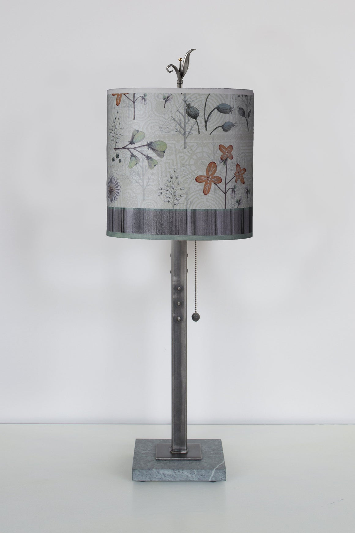 Steel Table Lamp on Italian Marble Base with Small Oval Shade in Flora & Maze