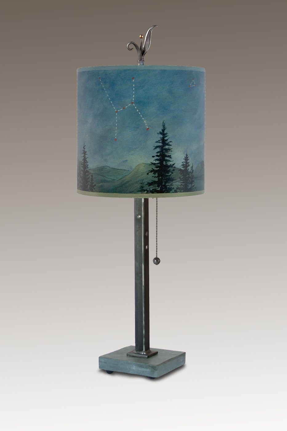 Steel Table Lamp on Vermont Slate with Small Oval Shade in Midnight