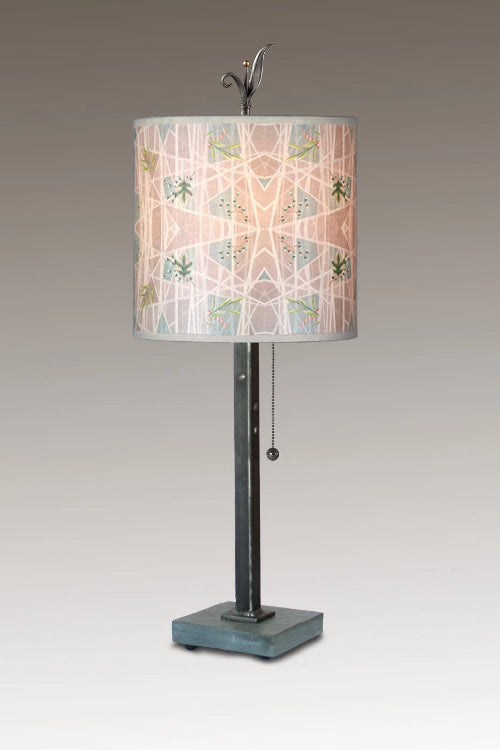 Steel Table Lamp on Italian Marble Base with Small Oval Shade in Prism