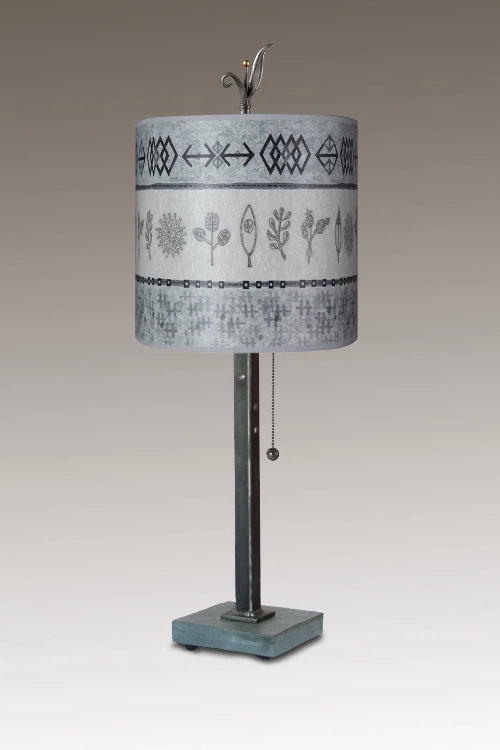 Steel Table Lamp on Italian Marble Base with Small Oval Shade in Woven & Sprig in Mist