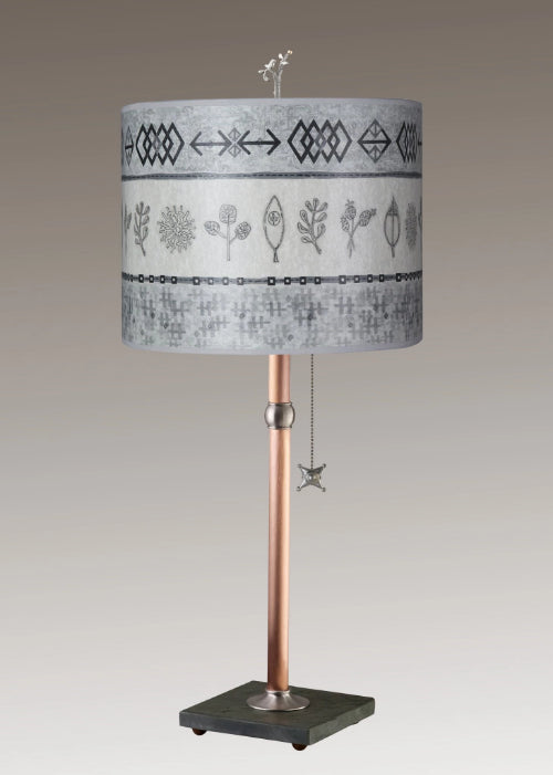 Copper Table Lamp on Vermont Slate Base with Large Oval Shade in Woven & Sprig in Mist