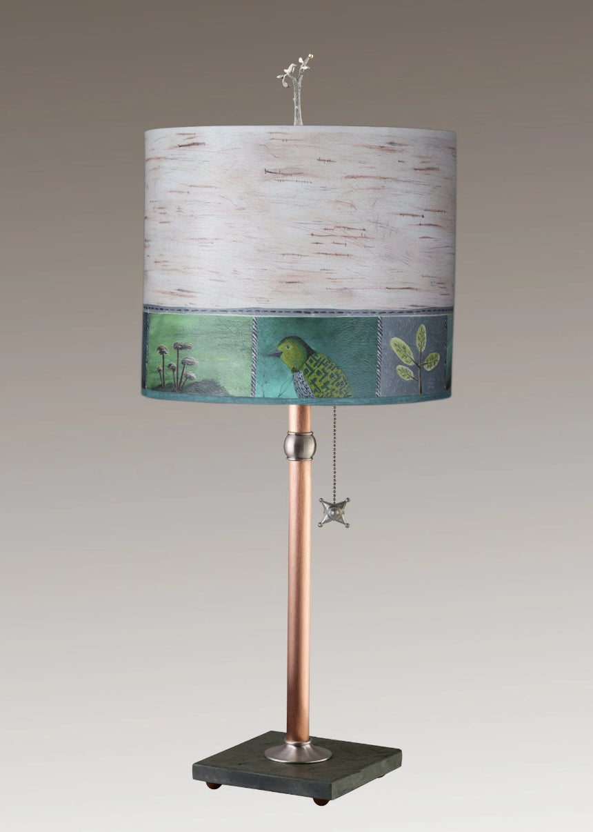 Copper Table Lamp on Vermont Slate Base with Large Oval Shade in Woodland Trail in Birch