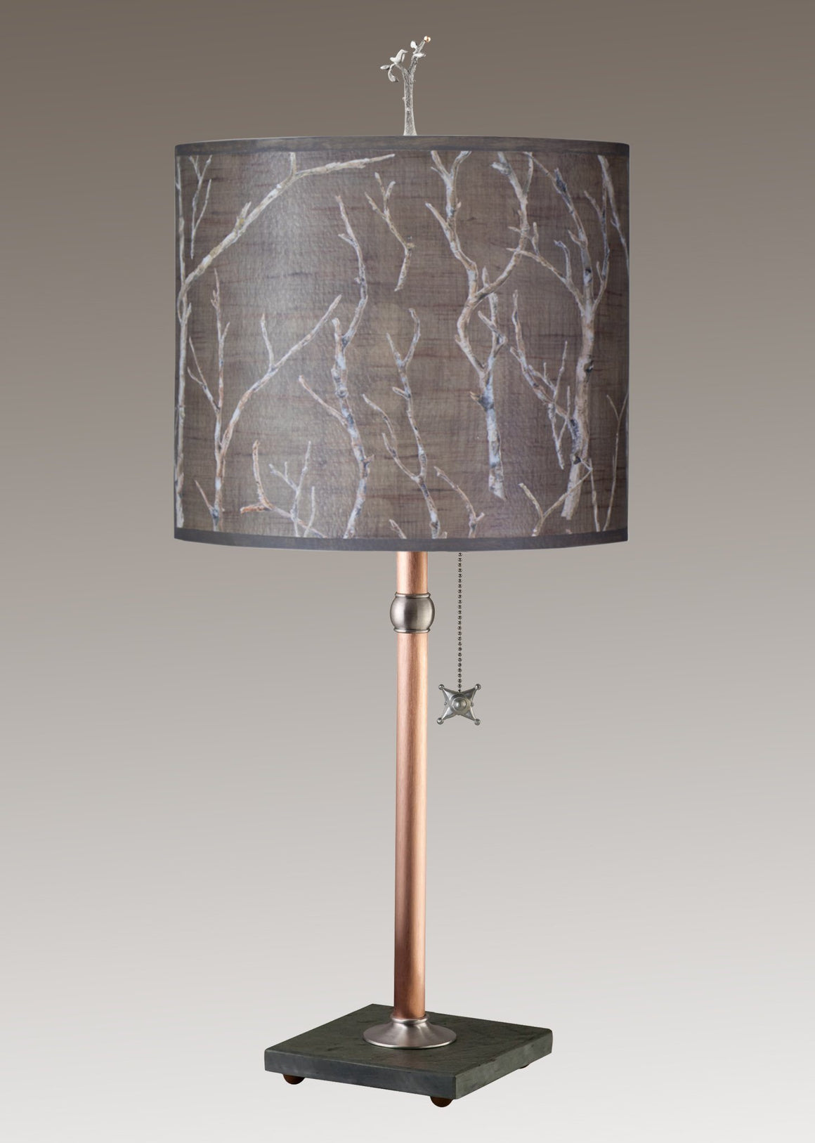 Copper Table Lamp on Vermont Slate Base with Large Oval Shade in Twigs