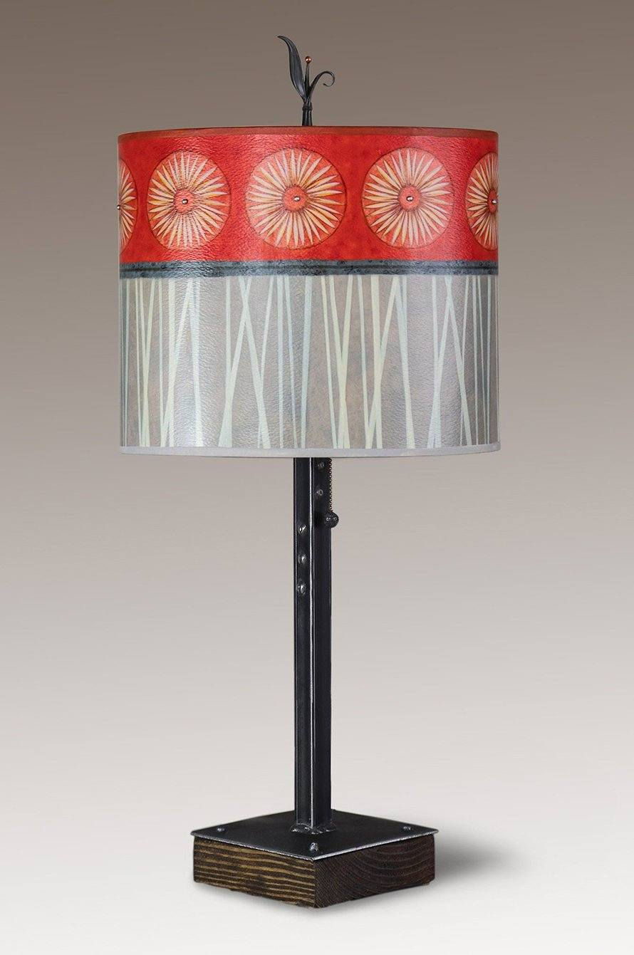 Steel Table Lamp on Wood with Large Oval Shade in Tang