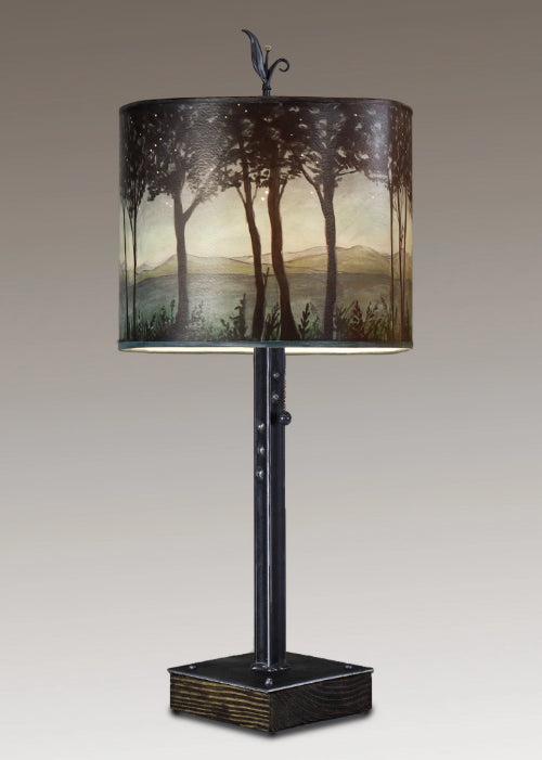 Steel Table Lamp on Wood with Large Oval Shade in Woodland Trails in Twilight