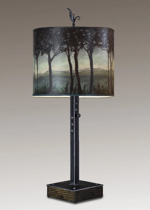 Steel Table Lamp On Wood With Large Oval Shade In Woodland Trails