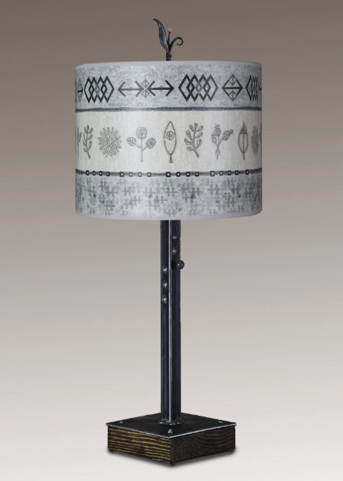 Steel Table Lamp on Wood with Large Oval Shade in Woodland Trails in Woven & Sprig in Mist
