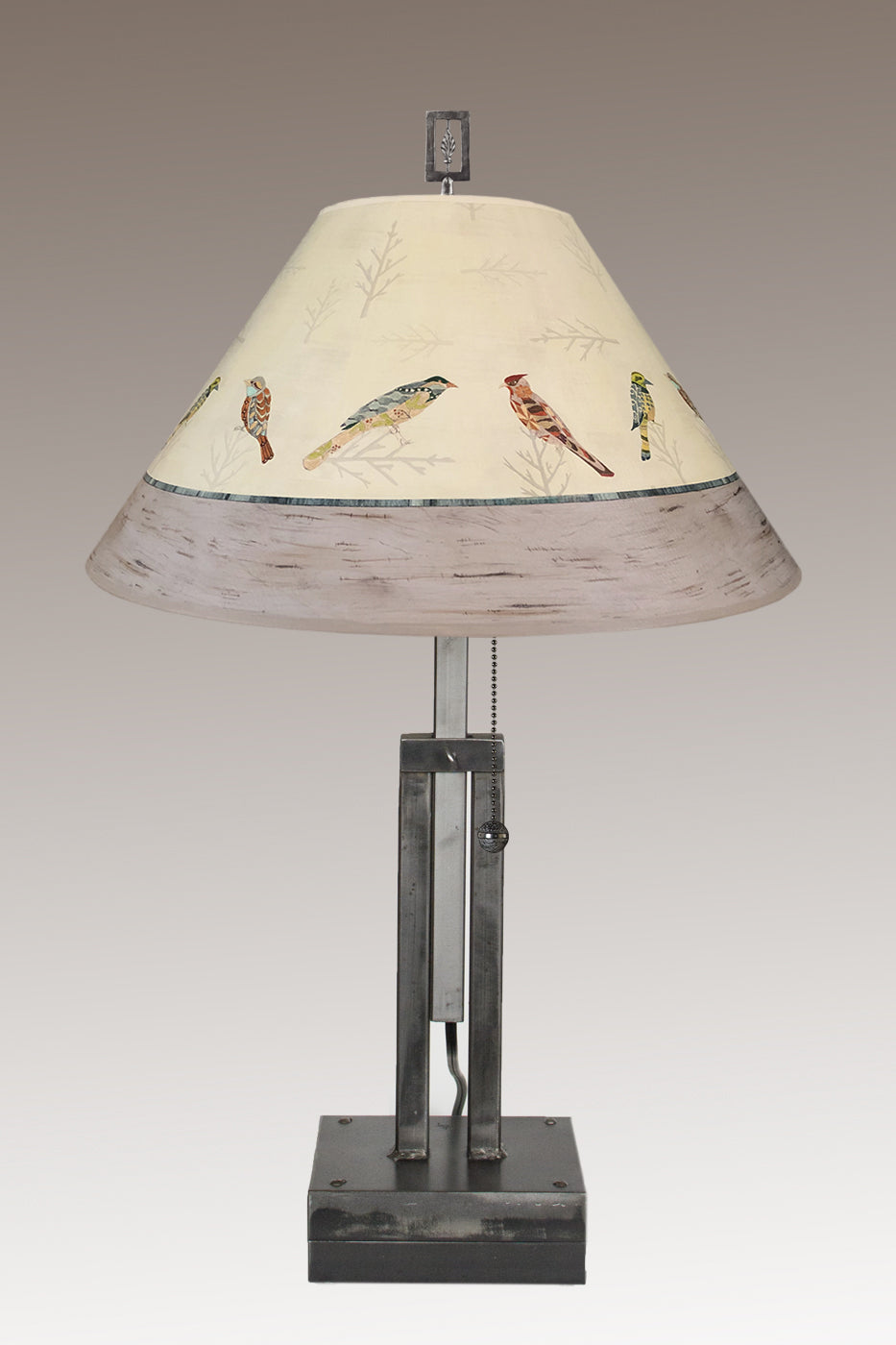 Adjustable-Height Steel Table Lamp with Large Conical Shade in Bird Friends
