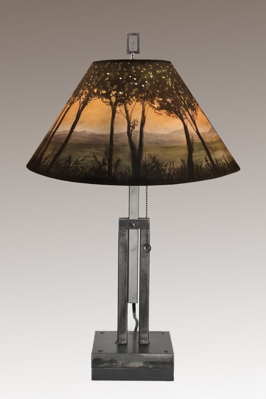 Adjustable-Height Steel Table Lamp with Large Conical Shade in Dawn