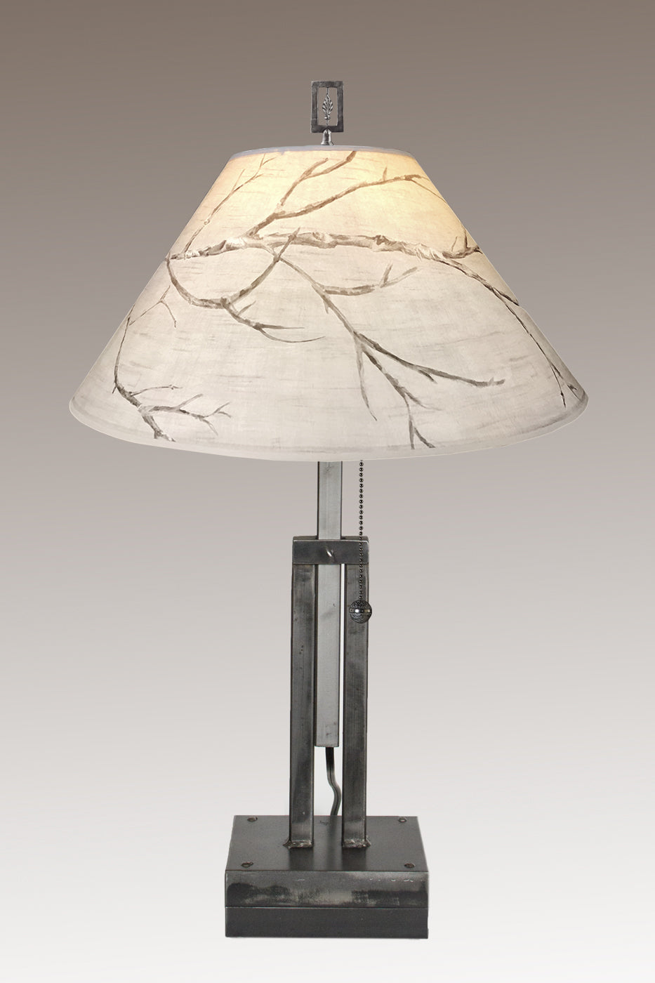 Adjustable-Height Steel Table Lamp with Large Conical Shade in Sweeping Branch