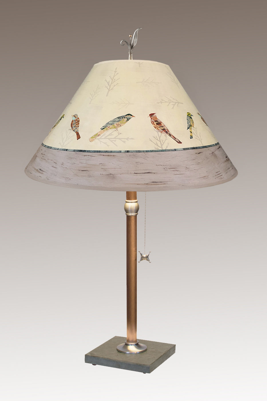 Copper Table Lamp on Vermont Slate with Large Conical Shade in Bird Friends