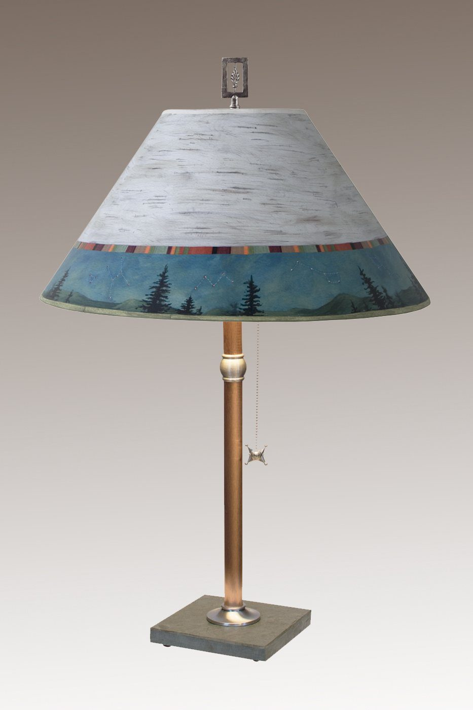 Copper Table Lamp on Vermont Slate with Large Conical Shade in Birch Midnight