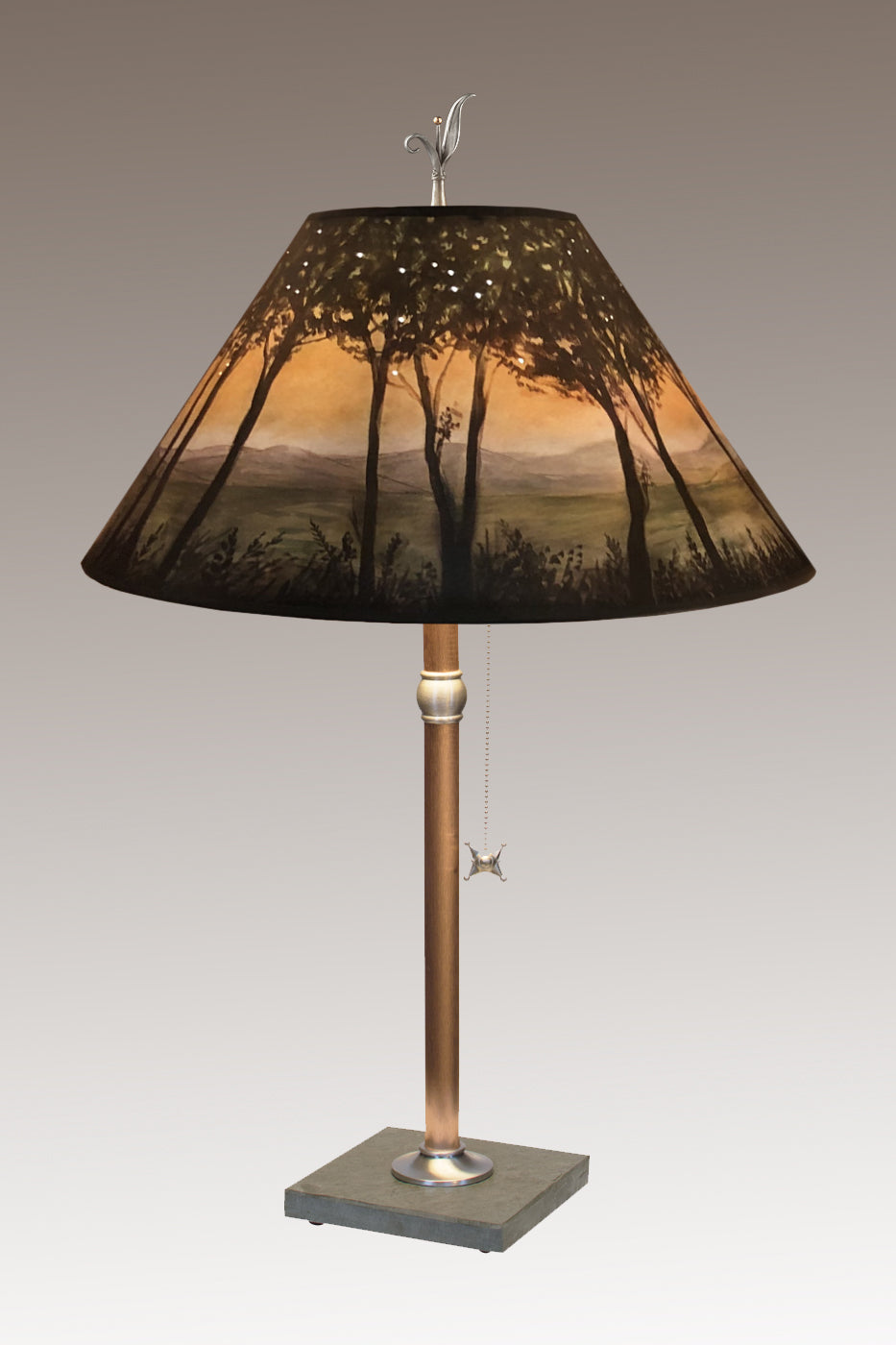 Copper Table Lamp on Vermont Slate with Large Conical Shade in Dawn
