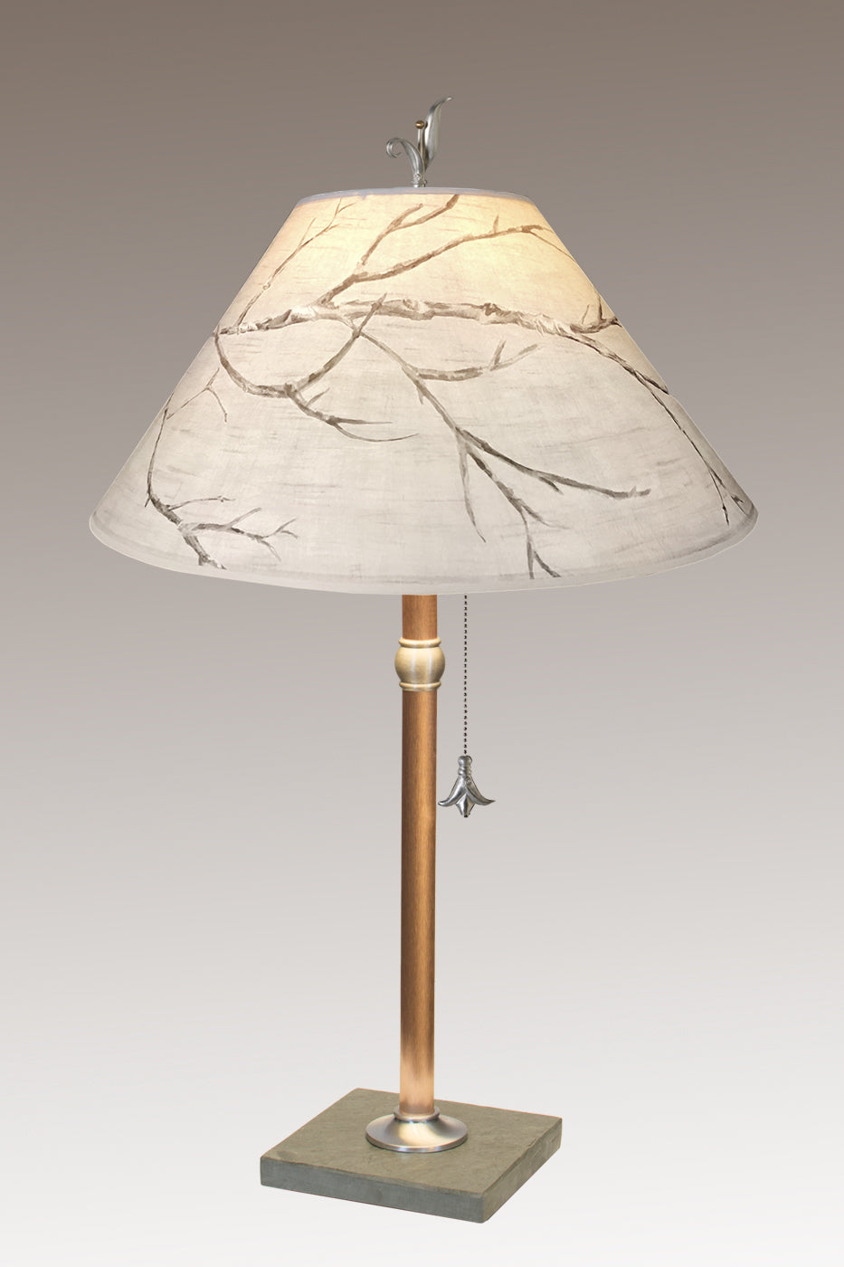 Copper Table Lamp on Vermont Slate with Large Conical Shade in Sweeping Branch