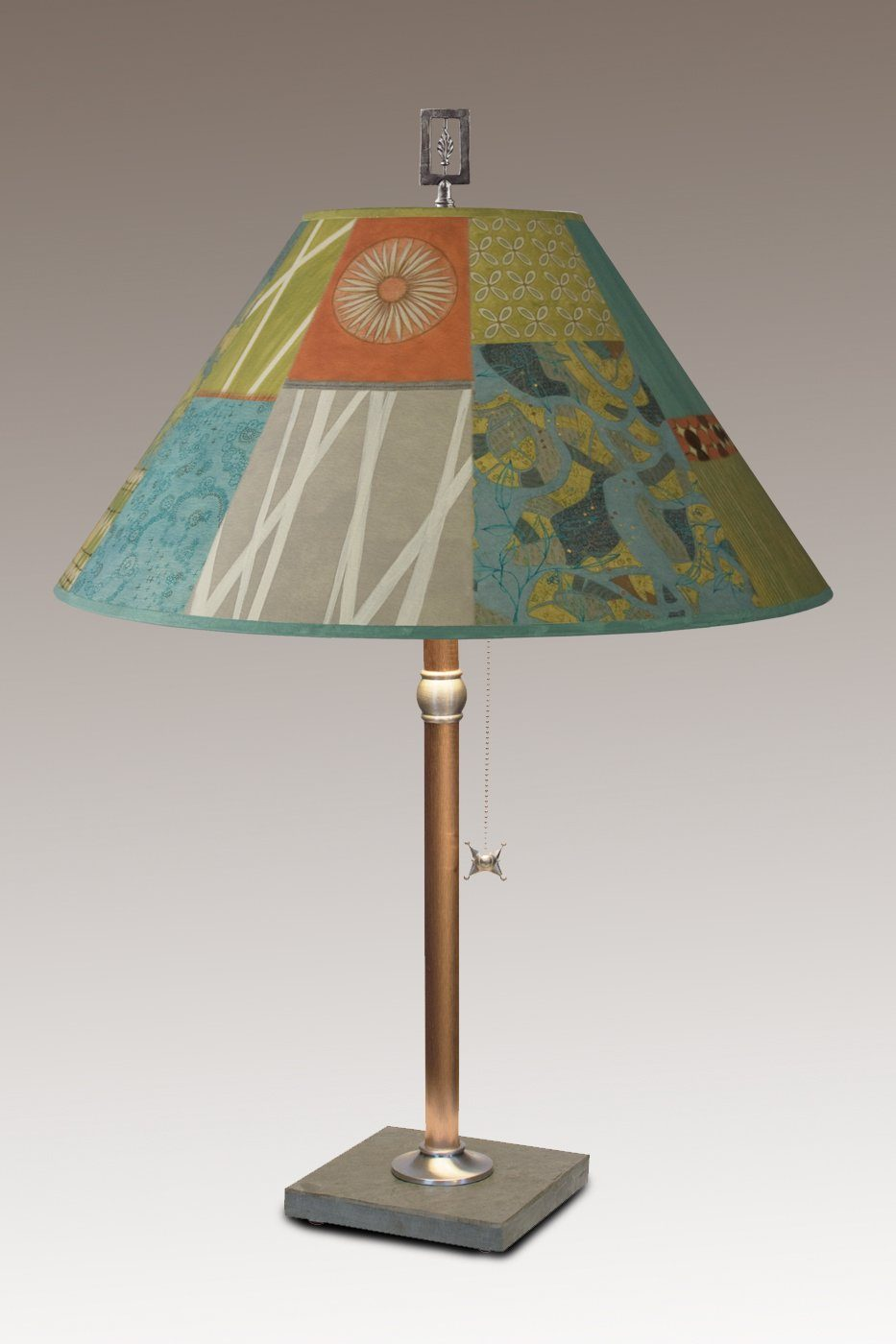 Copper Table Lamp on Vermont Slate with Large Conical Shade in Zest