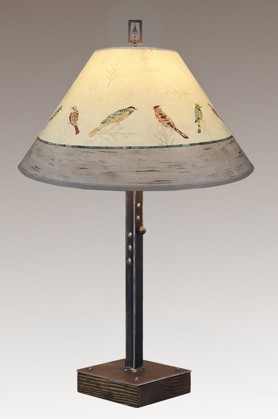 Steel Table Lamp on Wood with Large Conical Shade in Bird Friends