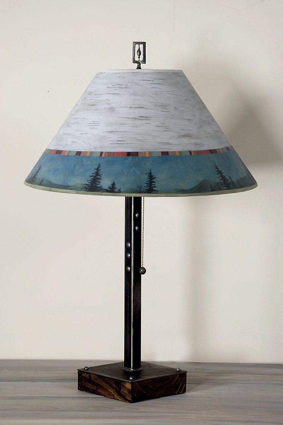 Steel Table Lamp on Wood with Large Conical Shade in Birch Midnight