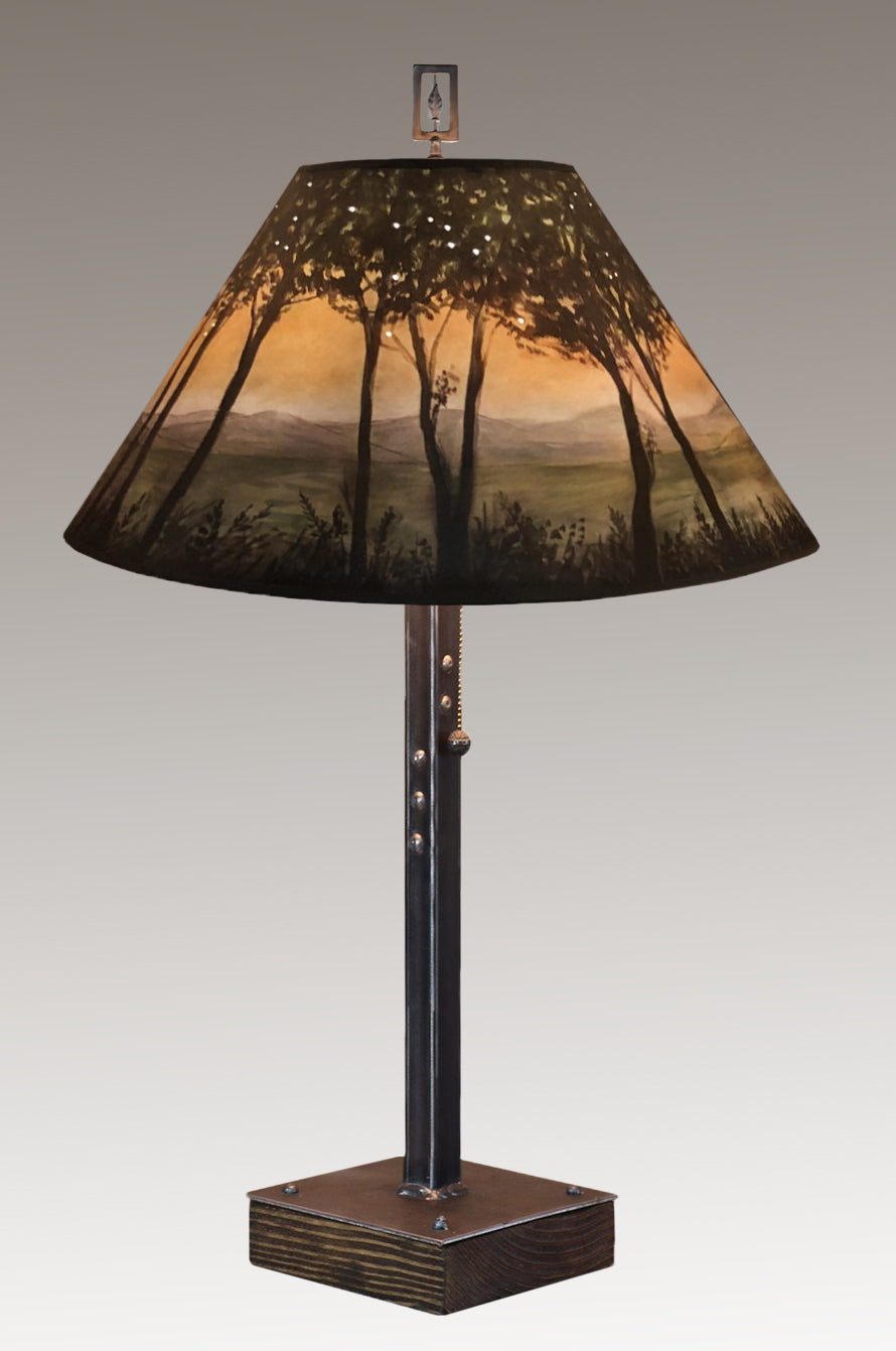 Steel Table Lamp on Wood with Large Conical Shade in Dawn