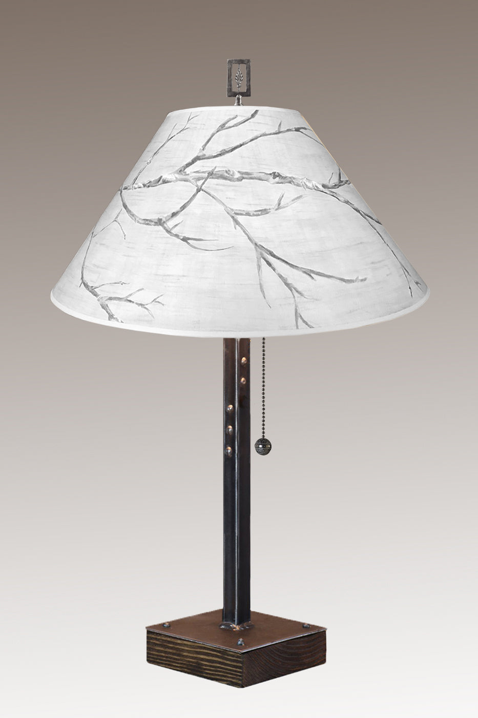 Steel Table Lamp on Wood with Large Conical Shade in Sweeping Branch