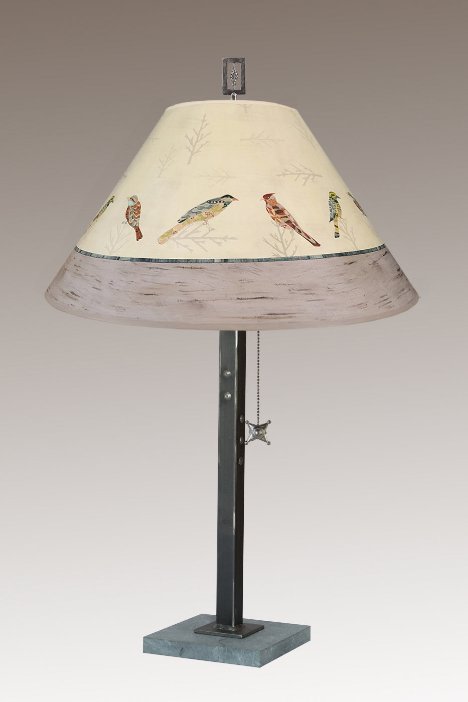Steel Table Lamp on Italian Marble with Large Conical Shade in Bird Friends