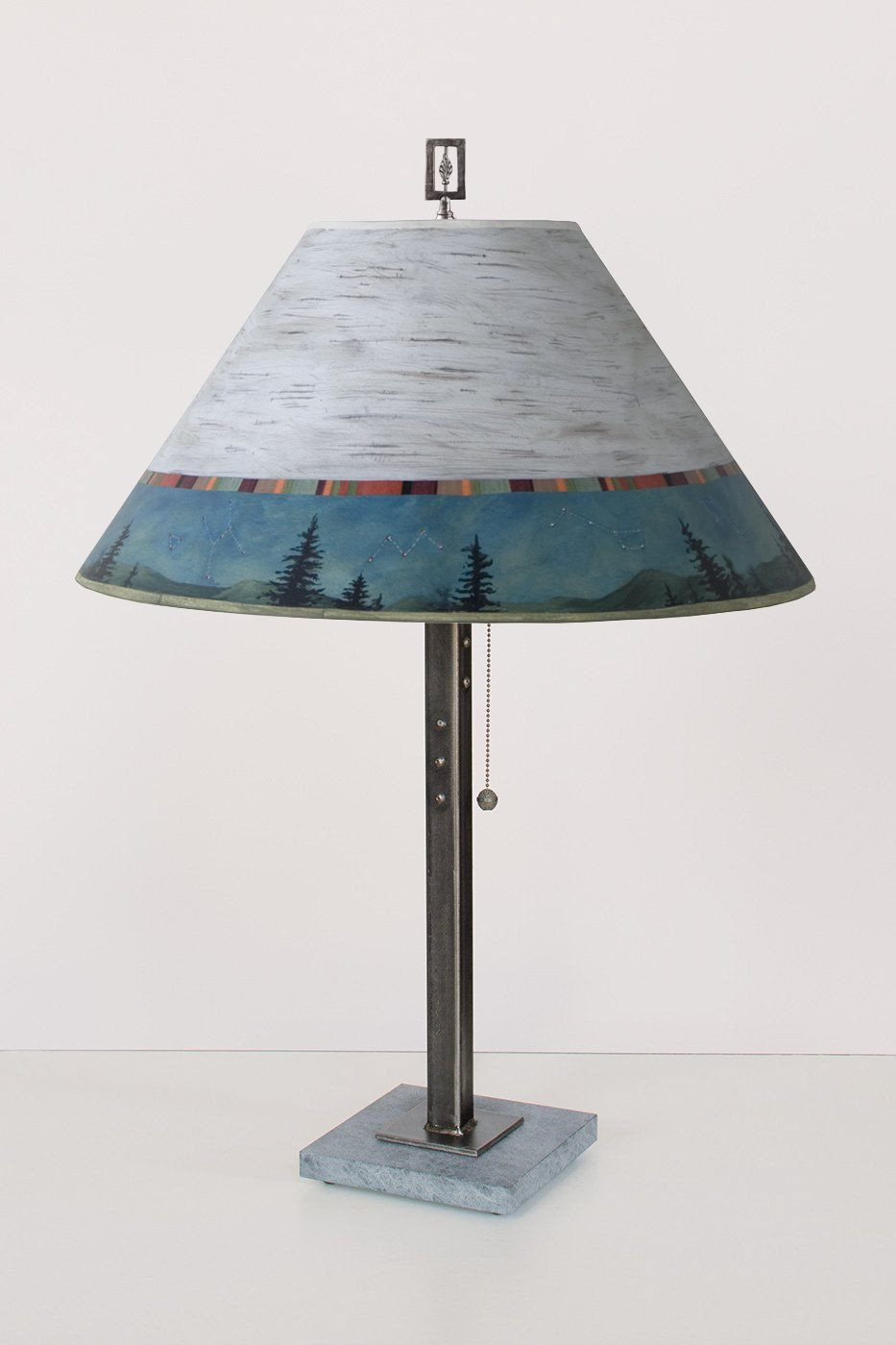 Steel Table Lamp on Italian Marble with Large Conical Shade in Birch Midnight
