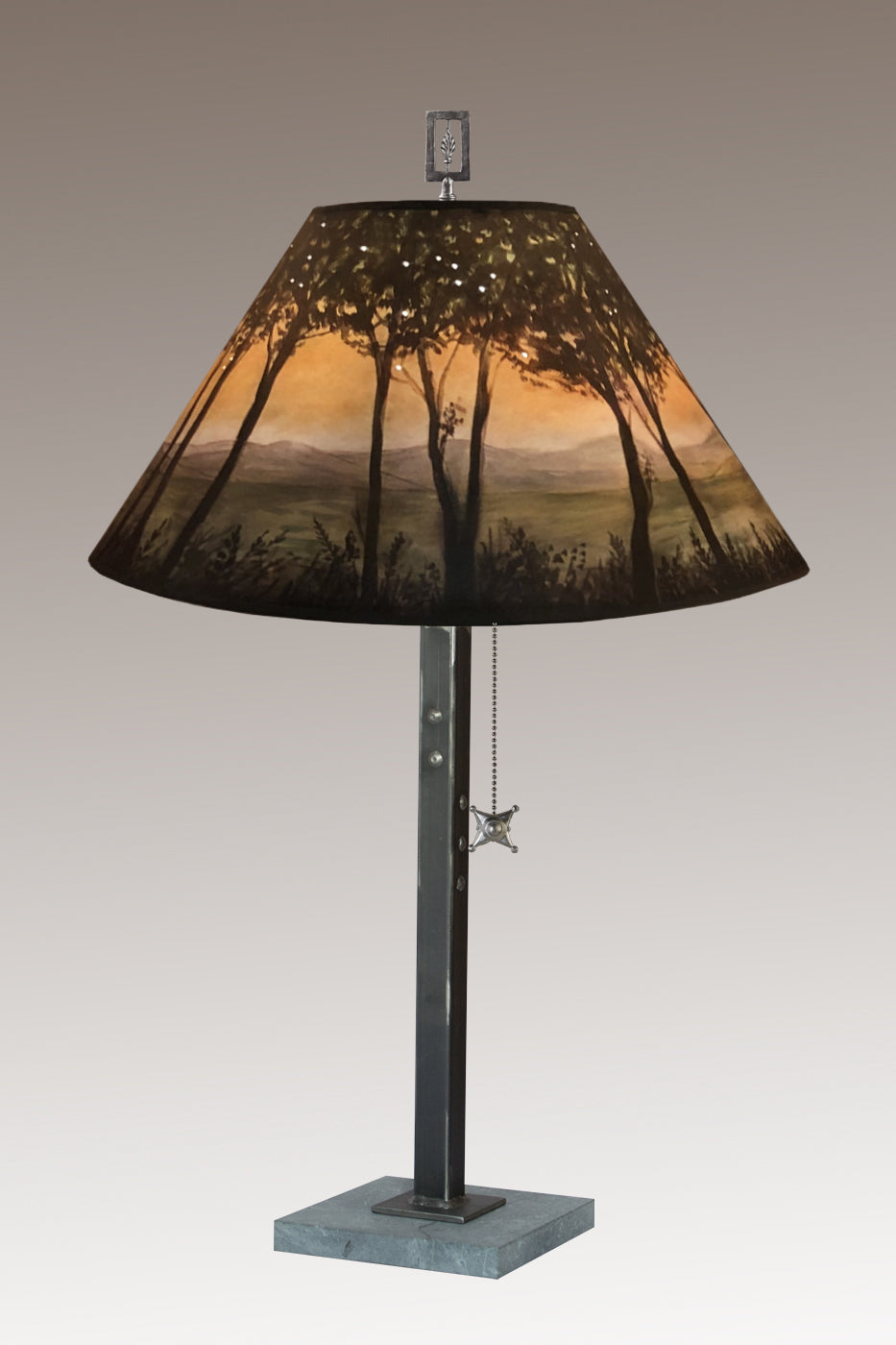 Steel Table Lamp on Italian Marble with Large Conical Shade in Dawn